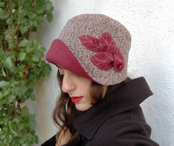 Cloche hat red and white tweed herringbone with by WhereIsTheCat