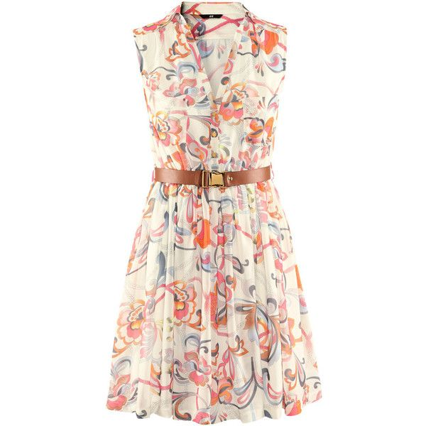 H&M Dress (270 NOK) ❤ liked on Polyvore featuring dresses, h&m, vestidos, floral, knee-length dresses, sleeveless chiffon dress, sleeveless floral dress, floral day dress and pink sleeveless dress