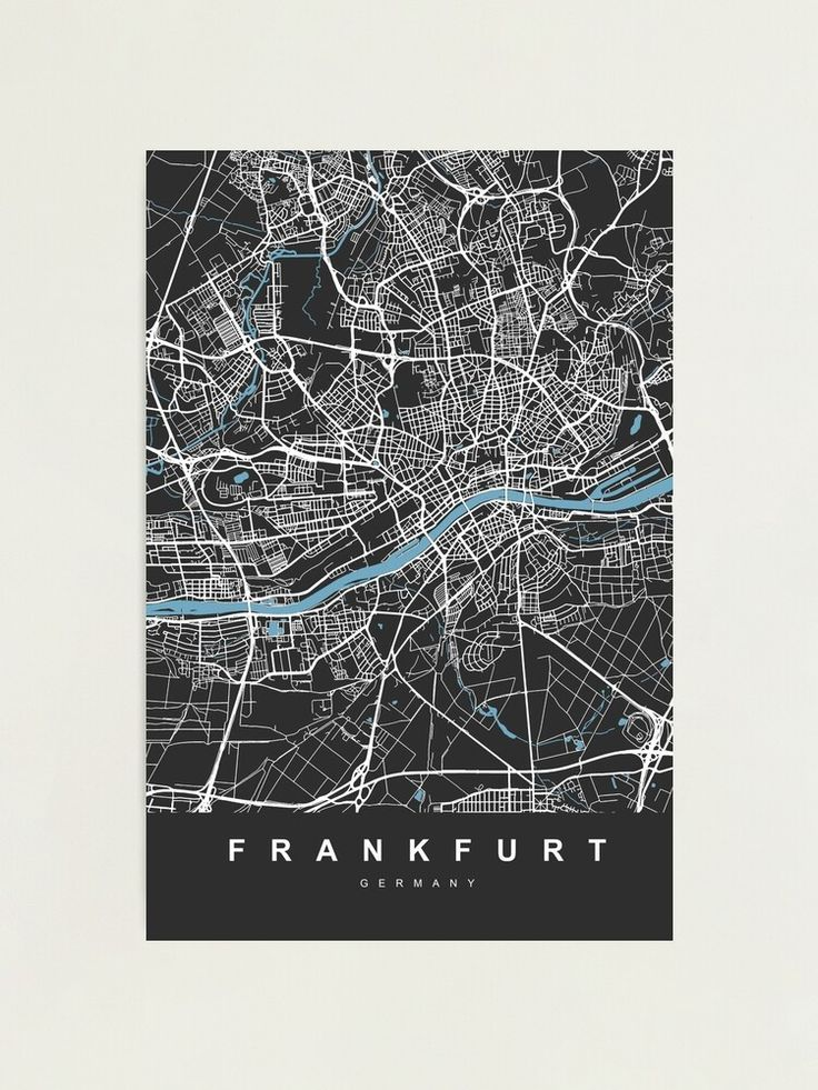 Frankfurt Germany Map Black Color City Map Photographic Print By Urban Maps Germany Map City Map Poster City Map