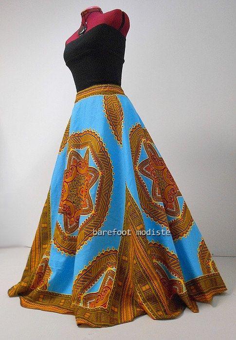Elsah Plus Size Dashiki Maxi Skirt African by BarefootModiste