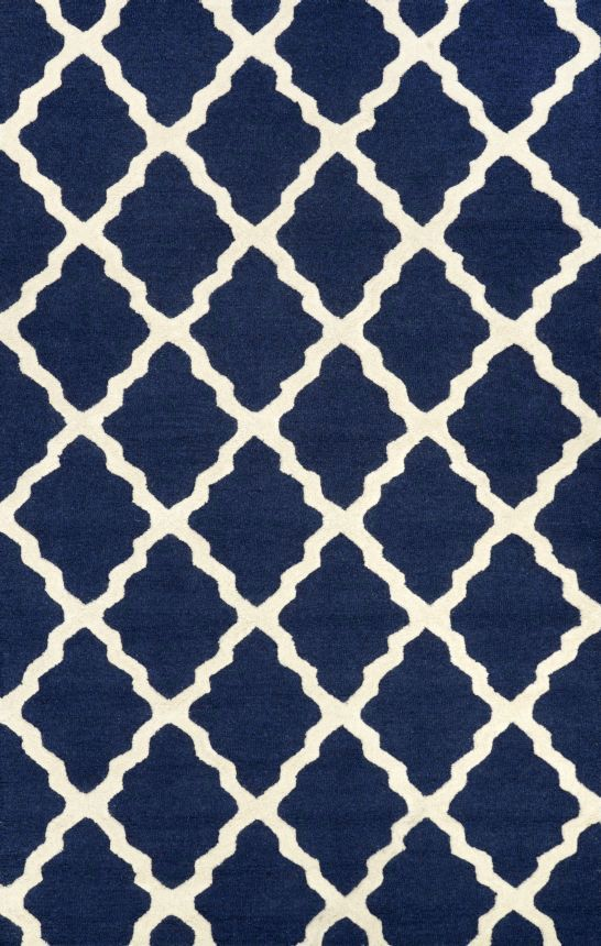 Homespun Moroccan Trellis Navy Blue Rug | Contemporary Rugs #RugsUSA