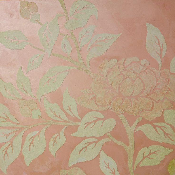 Marat Ka venetian stucco. Light pink texture - background, flower ornament - matt acrylic paint. All materials - Marat Ka (MKA) trademark.