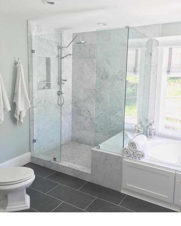 Walls Sea Salt Sw Caraerra Marble Love The Flooring Too Instagram Photo By Jessica May 13 Master Bathroom Shower Small Bathroom Remodel Bathrooms Remodel