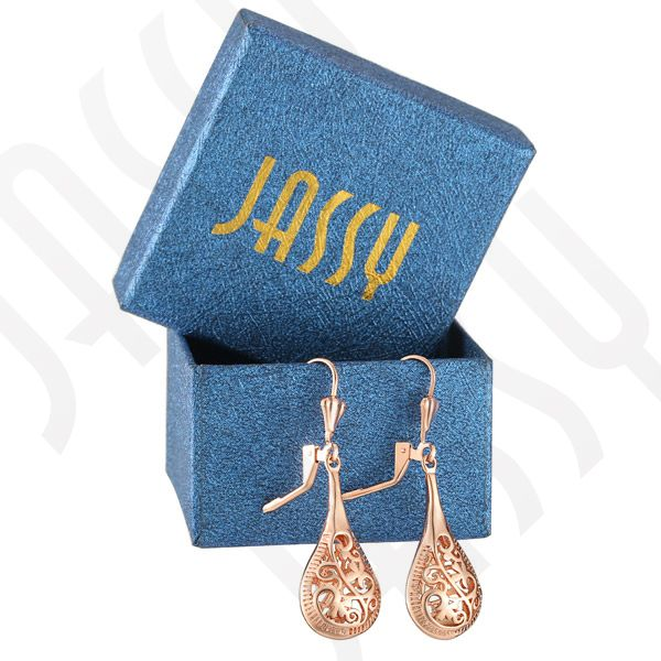 JASSY® Rose Gold Hollow Elegant Ear Drop Earrings Jewelry for Women