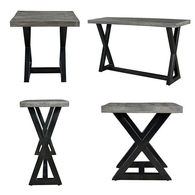 X Marks The Spot  The Zax table collection from !nspire in distressed grey is not only beautiful with its cast iron base, but the 2-inch table top panel is made of 100% sustainable mango wood   http://worldwidehomefurnishingsinc.com/catalogsearch/result/?q=zax