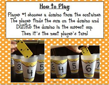 """Here's a game called Dunk It Dominoes where students practice basic addition facts by """"dunking"""" dominoes in the cup with the appropriate sum."""
