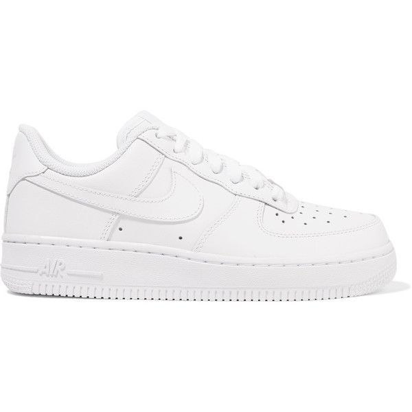 Nike Air Force I leather sneakers (£71) ❤ liked on Polyvore featuring shoes, sneakers, white, white sneakers, white lace up shoes, lace up sneakers, white trainers and grip trainer