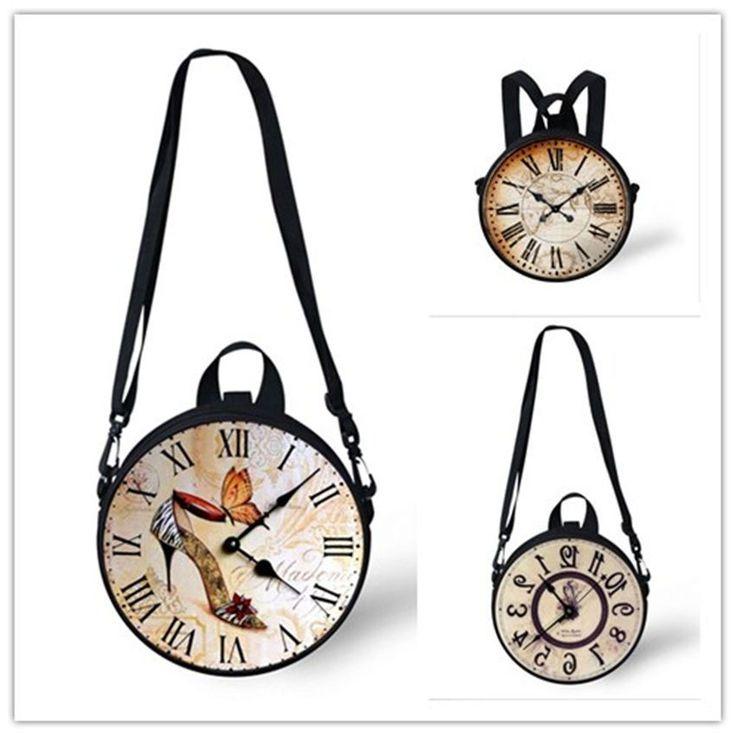 Fashion Clock Watch Print Women Handbags Casual Purse Kids Shoulder Backpack…