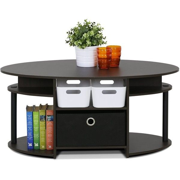 Amazon.com: FURINNO 15079WNBK Jaya Simple Design Oval Coffee Table... (