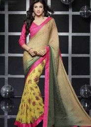 Casual Wear  Georgette Brown Lace Border Work Saree
