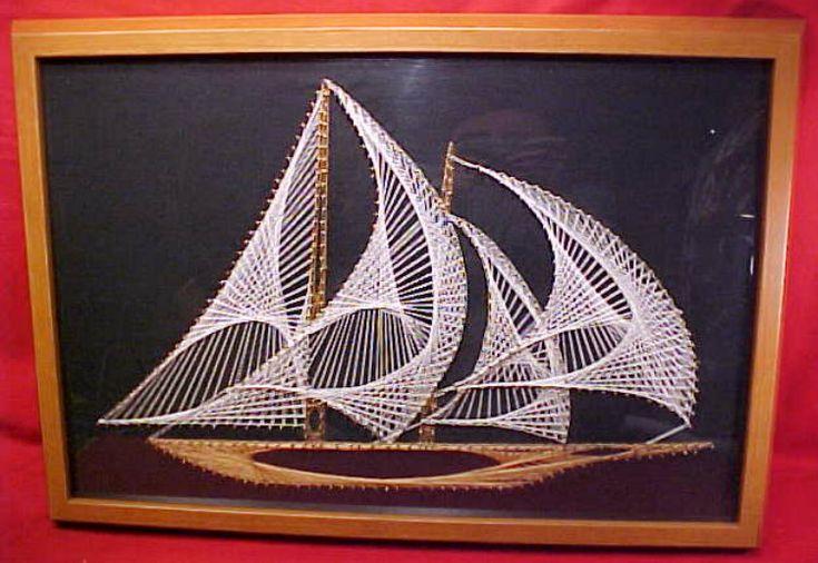 Nautische String Art Segelschiff Jahrgang 1970 die von Mainetrader