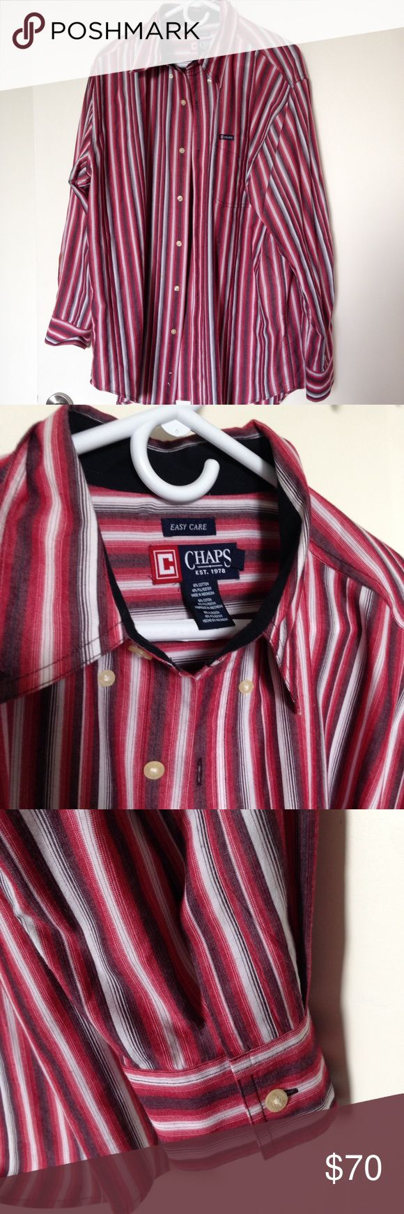Red, Gray, White Stripped Shirt Hardly worn - in great condition, no damage! 60% cotton 40% polyester. Easy care fabric. Chaps Shirts Casual Button Down Shirts