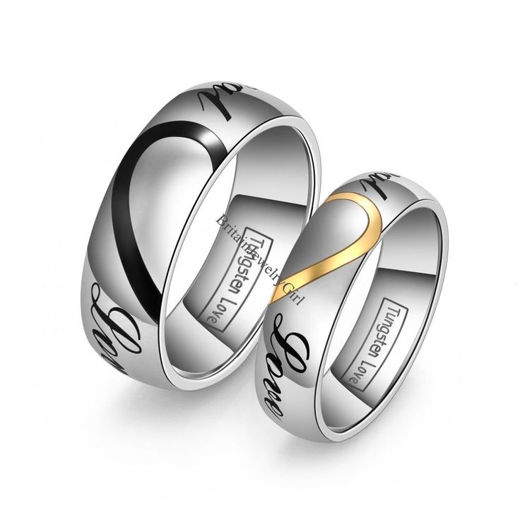 """Lovers' Matching Heart Tungsten Carbide """"Real Love"""" Men's Women's  Wedding Rings #Band"""