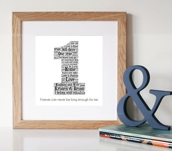 1 Year Anniversary Gifts For Her Paper : 1st anniversary gift word art paper anniversary 1 year anniversary ...