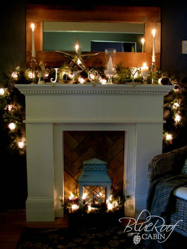 Christmas Mantel At Night By Blue Roof Cabin Blog