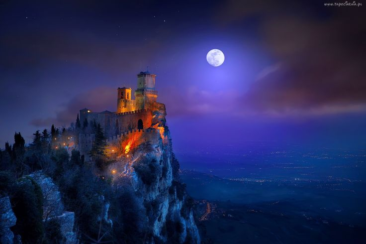 Zamek, Światła, Księżyc, Noc