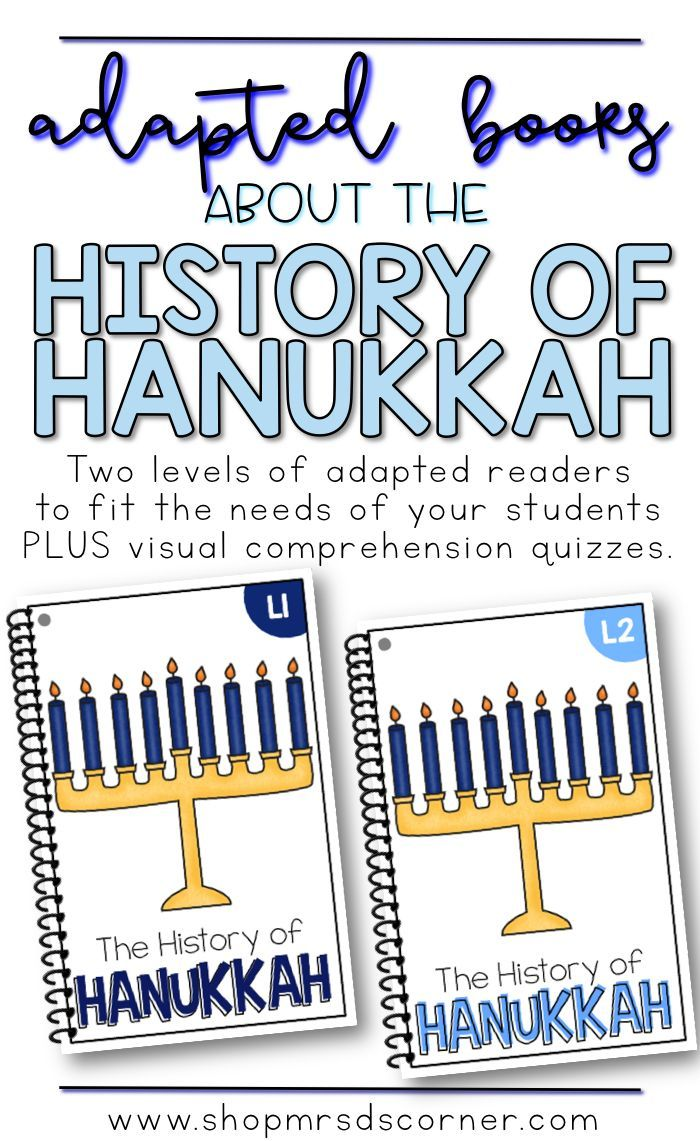 Teach your students the history of Hanukkah, how the modern traditions came about, and why the Festival of Lights is important with this set of leveled, adapted readers. Includes two adapted readers, with visual comprehension quizzes. Only at Mrs. D's Corner.