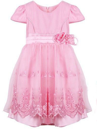 Girl Dress Pink Embroidered Floral Glass Pleated Elegant Party Pageant Wedding Kids/Child Clothes Size 4-12 $16.99 - 17.99