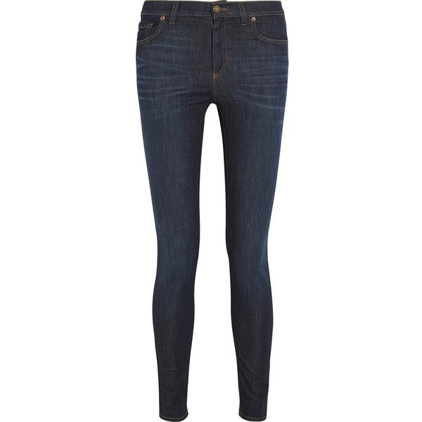 Tom Ford Mid-rise skinny jeans (300 KWD) ❤ liked on Polyvore featuring jeans, pants, bottoms, dark blue, mid rise skinny jeans, skinny jeans, skinny leg jeans, blue jeans and indigo jeans