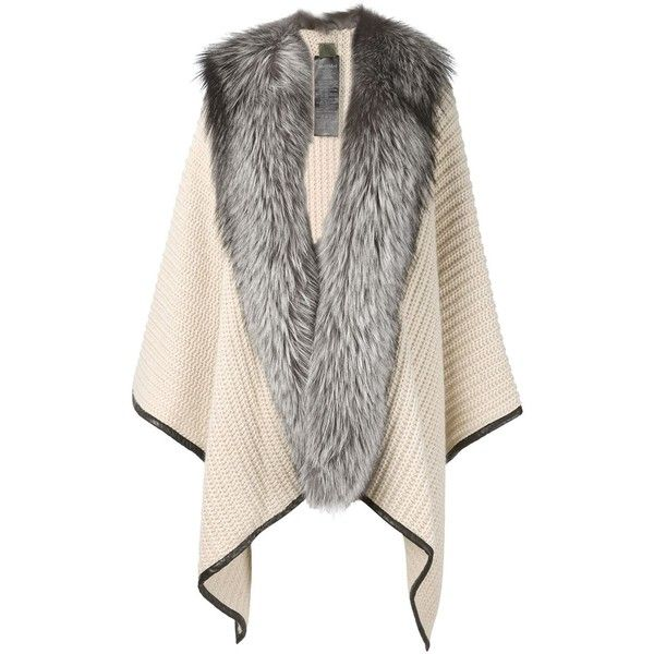 Mr & Mrs Italy Fur Trim Cape (15.860 RON) ❤ liked on Polyvore featuring outerwear, jackets, coats, coats & jackets, fur, white, fur trimmed cape, white cape coat, white cape and white fur trimmed cape