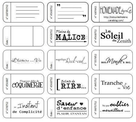 Ticket à imprimer - Ln et ses créations
