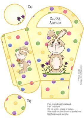 Easy Easter Bunny Gift Bag Box on Craftsuprint designed by Wendy Colledge - Fab and easy sheet to print, cut and embellish. Instructions included and sheet can easily be resized for smaller sizes. - Now available for download!