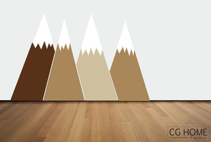 nougat brown Headboard Nursery MOUNTAIN view Snow mountain for kids big wall washable decal CGhome by CGhome on Etsy https://www.etsy.com/listing/269829292/nougat-brown-headboard-nursery-mountain