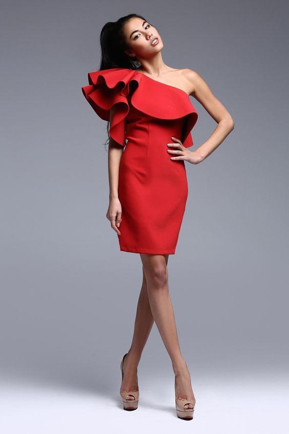 Платье с воланом укороченное  -