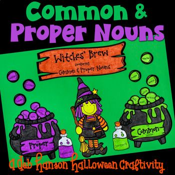 This engaging, activity puts a fun spin on identifying the nouns in a sentence, and then determining whether each one is a common noun or a proper noun.It also makes a creative bulletin board or school hallway display for October around the time of Halloween!