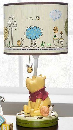 Disney Friendship Pooh Lamp Base And Shade New Born, Baby, Child, Kid, Infant, This hand painted resin lamp base decorated with Disney's adorable Winnie the Pooh sitting and gazing at a bee. The fabric shade features a panoramic scene of Winnie Pooh and his friends. Measures 9 ..., #Baby, #Accessories