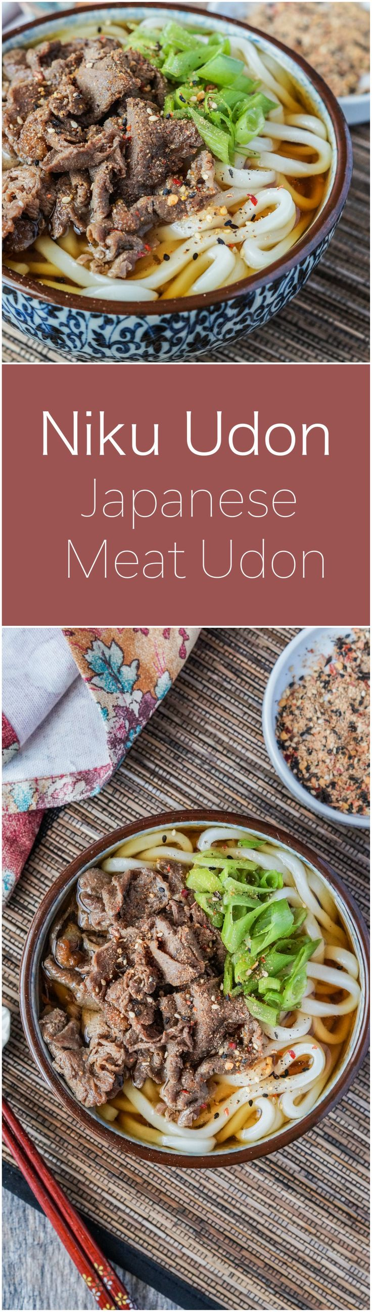 Recipe for Niku Udon- a Japanese noodle soup with a seasoned dashi base, thick udon noodles, and thinly sliced and marinated beef.