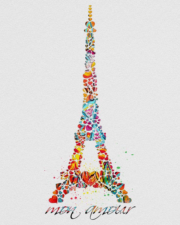 Eiffel Tower Paris Watercolor Art