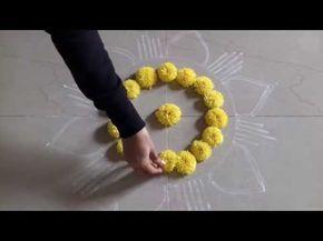 latest rangoli designs for festivals//muggulu rangoli designs//flower decorations - YouTube