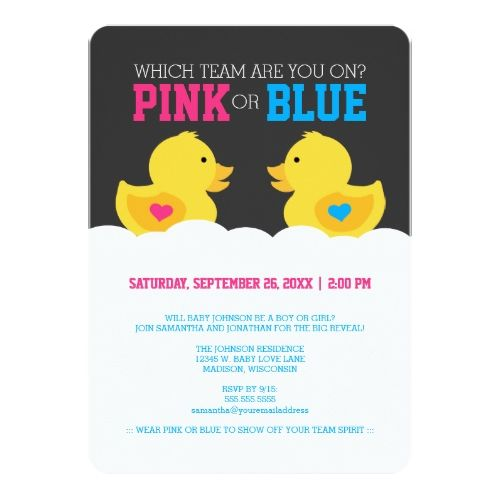 120 best gender reveal party invitations images on pinterest gender reveal party rubber ducky pink or blue gender reveal party card stopboris Image collections