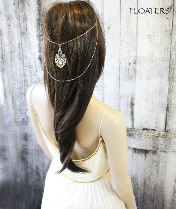 Gioielli per capelli bohemien catena testa d'oro di HairFloaters
