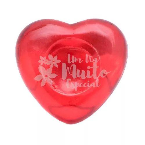 10 porta vela vidro coração (sem vela) vela rechaud vermelho