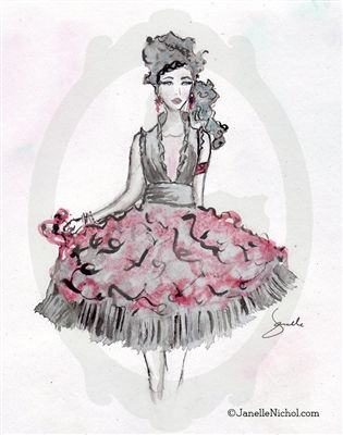 This red and black party dress is perfect for the unique style of this girl. She adds fun and style to any collection. This watercolor image...