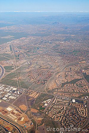 Aerial View of Phoenix City, Arizona.