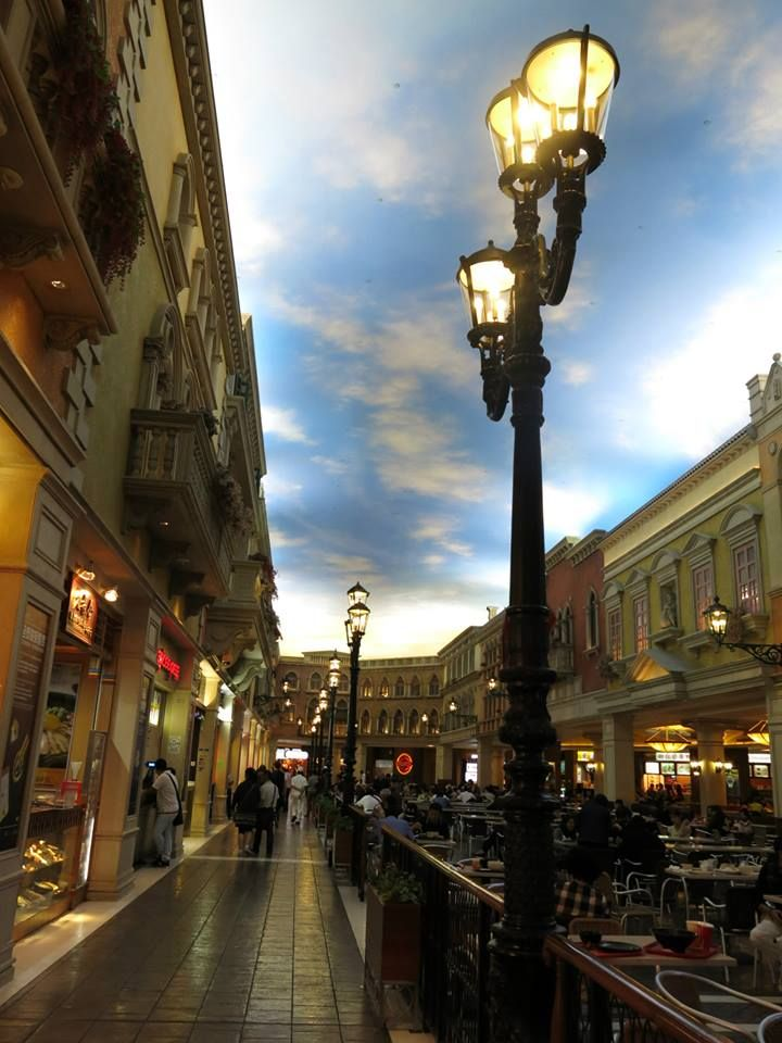 Inside the Venetian hotel, Macau.  It has the most amazing mock sky.