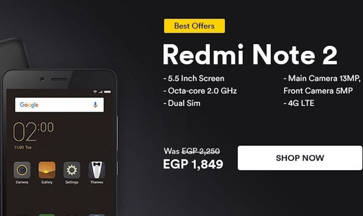 Exclusive Offer for 1849 EGP on Xiaomi Redmi Note 2 on Souq Egypt - EDEALO