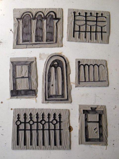 carved stamps - windows, doors & fences