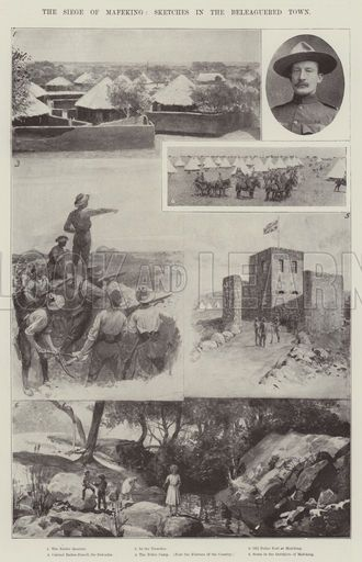 The Siege of Mafeking, Sketches in the Beleaguered Town. Illustration for The Illustrated London News, 7 April 1900.