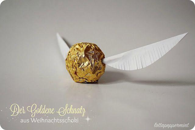 Der Goldene Schnatz. Ein Harry-Potter-DIY aus Weihnachtsschoki.