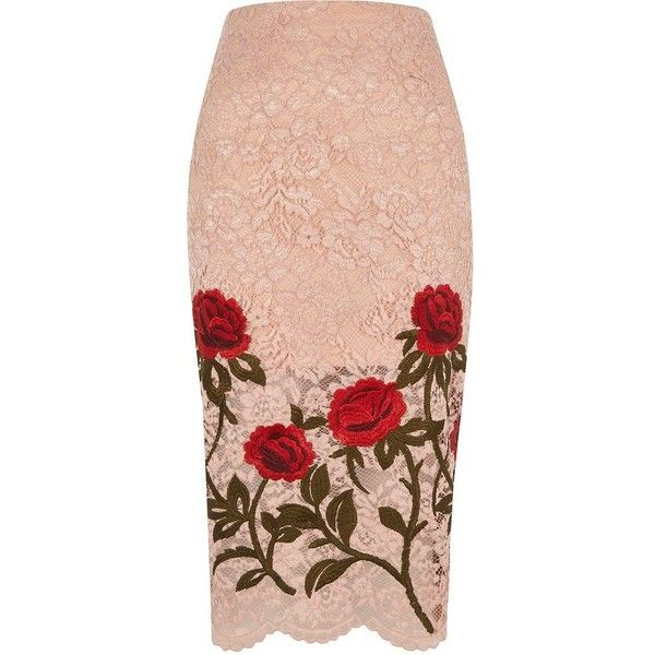 River Island Light pink lace floral embroidered pencil ski ($90) ❤ liked on Polyvore featuring skirts, river island, knee length pencil skirt, lace skirt, pencil skirt and lace pencil skirt