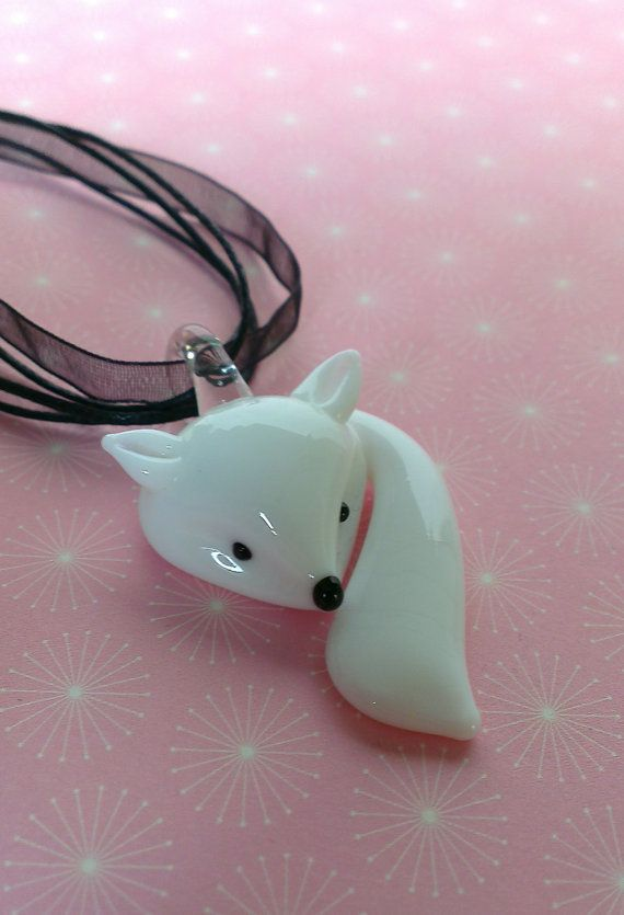 """Arctic fox necklace - winter white fox pendant necklace on organza or 18"""" or 24"""" silver plated chain snow fox gift uk"""