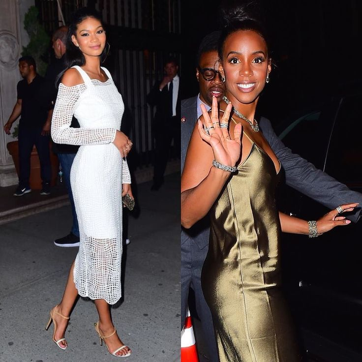 Supermodel #ChanelIman & Destiny's Child second lead #KellyRowland get snapped by the papa at #MichaelJordans party in honor of his Jordan Brand collar with soccer star Neymar in NYC.
