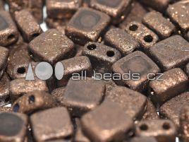 2-hole Squares 6 x 6 mm Jet Etched Bronze