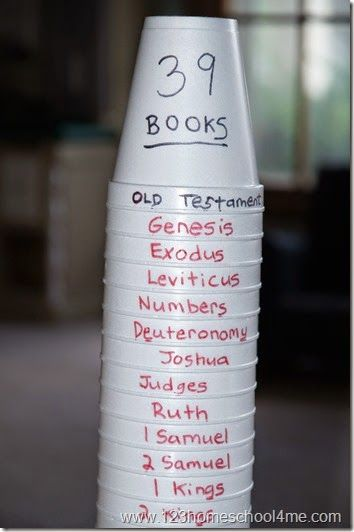 Books of the Bible Activity with Cups                                                                                                                                                     More