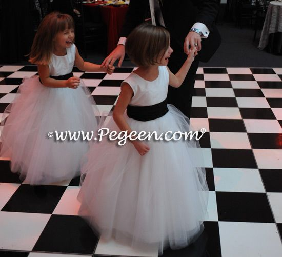 Black and White Couture Tulle Flower girl dresses - Pegeen Style 402 from infants to plus size and 200+ colors