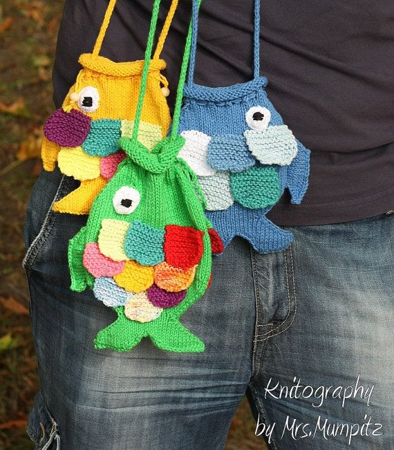 Fish Pouch for Kids handknit from eco by KnitographyByMumpitz